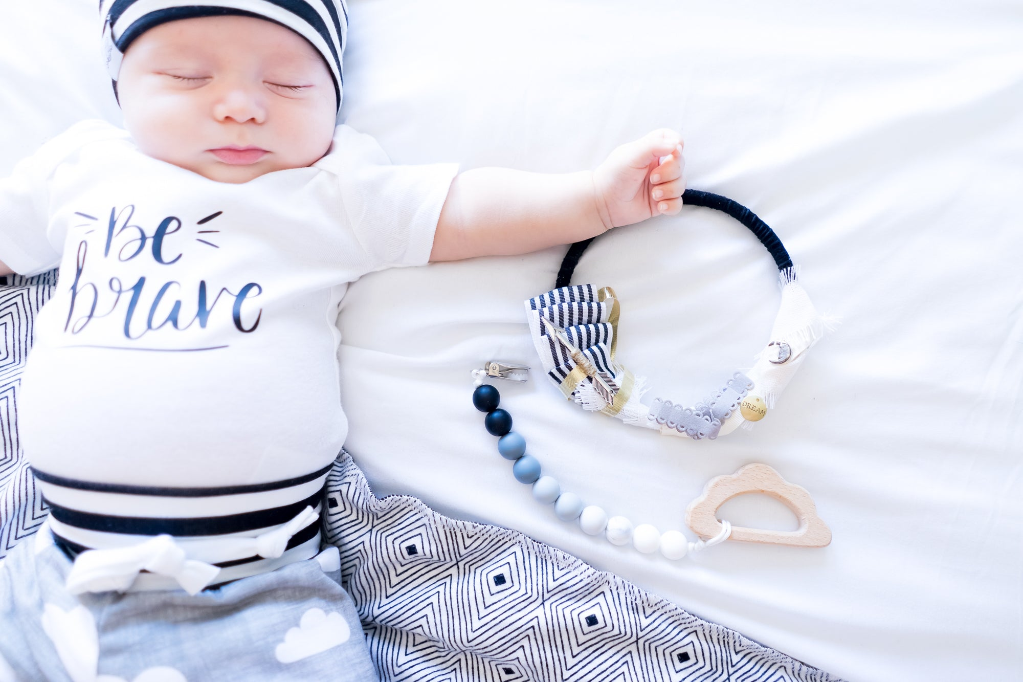 Ornamental Newborn Nursery Photo Prop Photography Session Dream Boy Monochrome