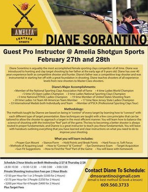 Diane Sorantino Amelia Shotgun Sports Guest Pro Instructor February 27th and 28th