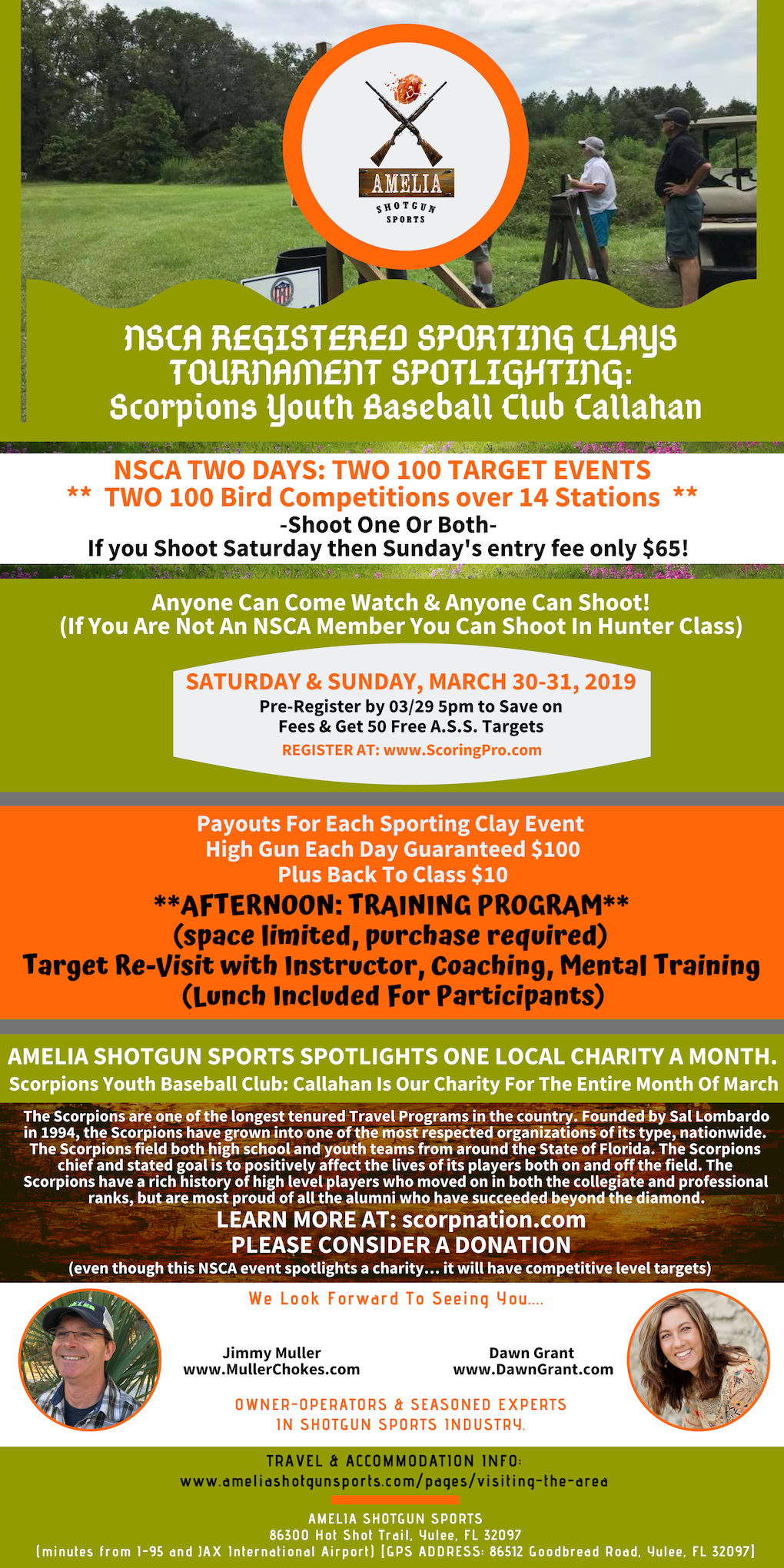 NSCA REGISTERED SPORTING CLAYS TOURNAMENT  SPOTLIGHTING: Scorpions Youth Baseball Club: Callahan