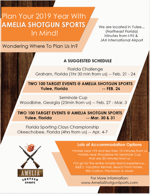 Plan your 2019 with Amelia Shotgun Sports in Mind!