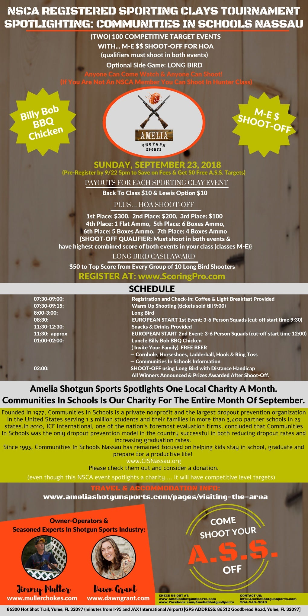 9/23 NSCA EVENT: two 100 events with M-E $HOA Shoot Off, & optional Long Bird