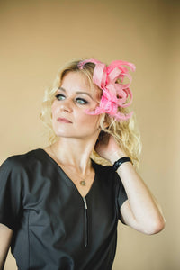 "Feathered fascinator hat ""Galia"""