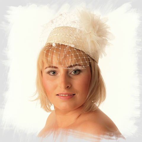 Pillbox fascinator hats, bridal headpiece