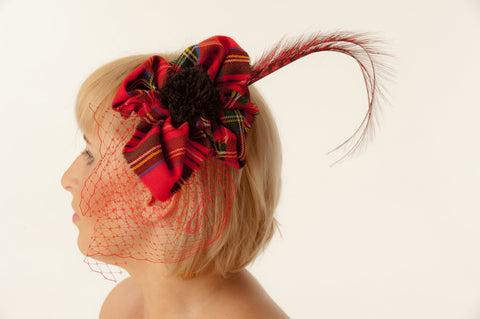 Cocktail bridal headpiece, Tartan fascinator hat