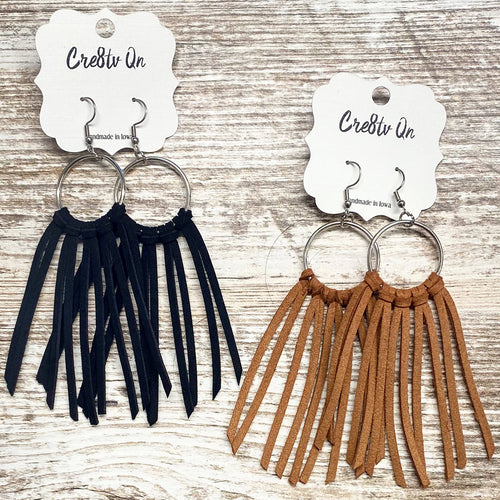 Fringe Leather Earring on Circle
