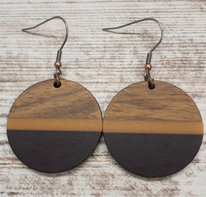 Plum and Orange Wood & Resin Circle Earring