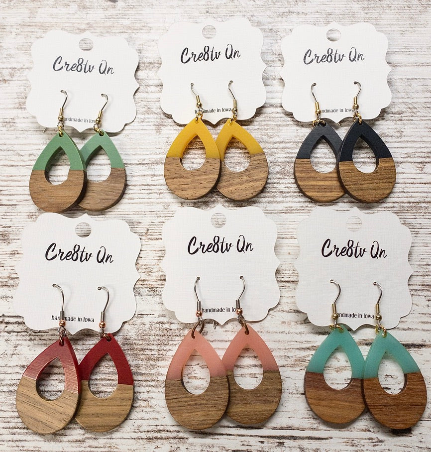 Teardrop Cutout Wood & Resin Earring