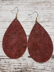 Brick Red Cork Leather Earring