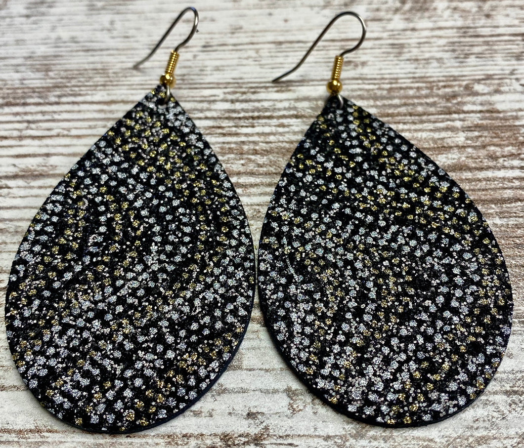 Silver & Gold Dotted Leather Earring