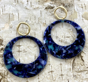 Indigo Circle Acetate Earring