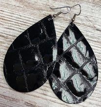 Shiny Black Leather Earring