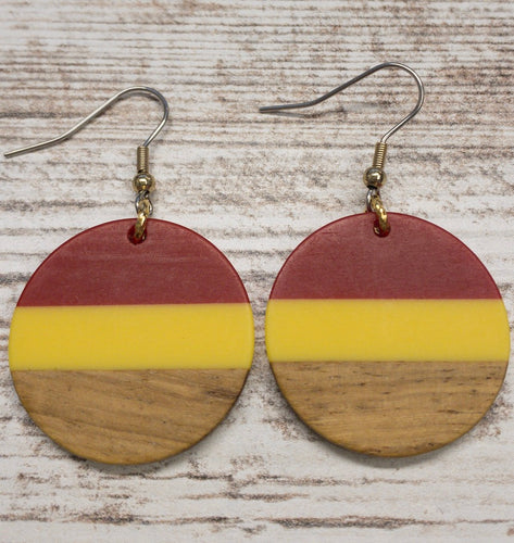 ISU Wood & Resin Circle Earring