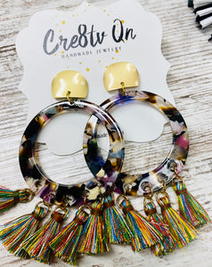 Acetate and Tassel Statement Earring
