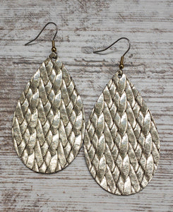 Gold Braided Leather Earring