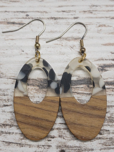 Speckled Oval Wood & Resin Earring