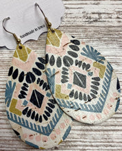 Bohemian Print Leather Earring on Cork