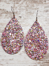 Pink Glitter Leather Earring