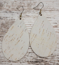 White Cork Leather Earring