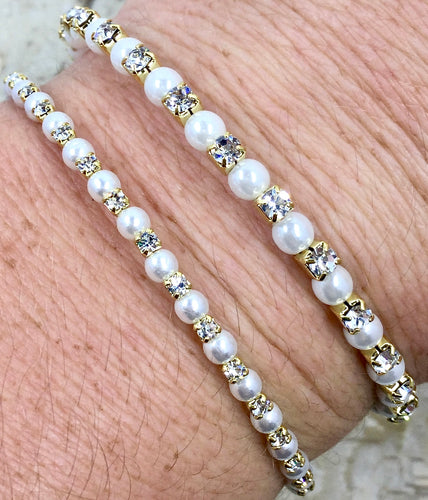 Gold & Pearl Clear Stone Swarovski Cuff From Paris