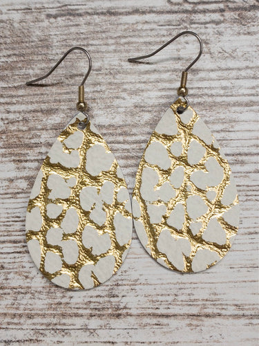 White & Gold Leather Earring