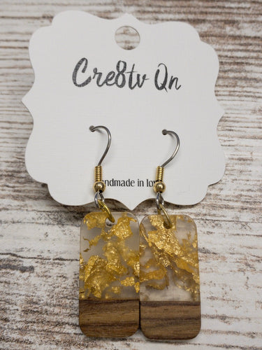 Wood & Resin Small Foiled Earring