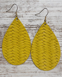 Mustard Braided Leather Earring