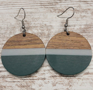 Green and Striped Wood & Resin Circle Earring