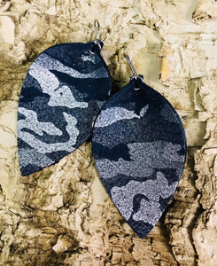 Metallic Navy Camo Leather Earring