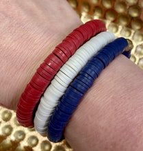 Red White and Blue Clay stretch stacker bracelet set