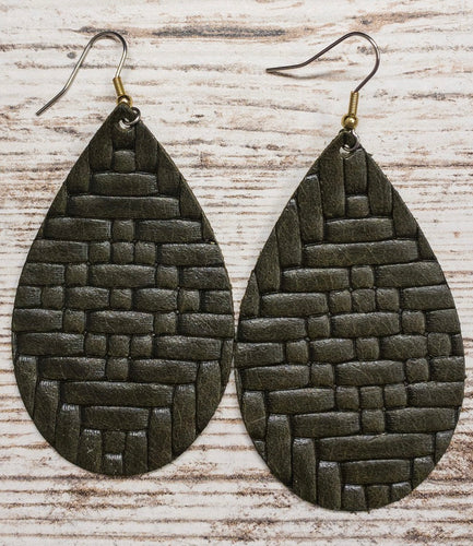 Olive Basketweave Leather Earring