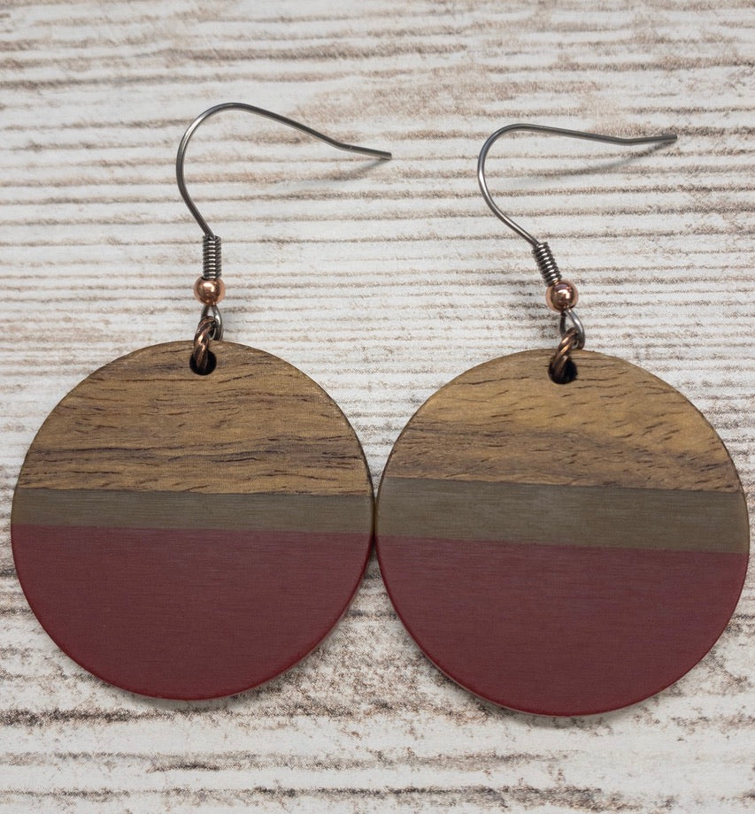 Red and Striped Wood & Resin Circle Earring