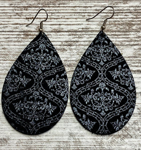 Black & Metallic Filigree Leather Earring