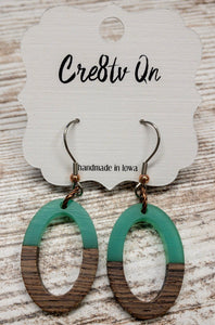 Resin & Wood Oval Cutout Earring