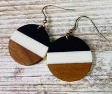 Resin and Wood Color Block Earring