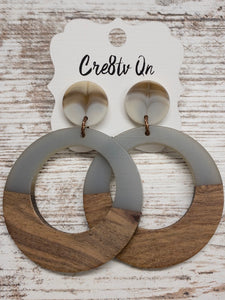 Gray Wood & Resin Large Earring
