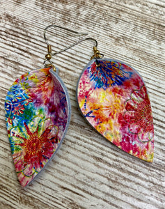 Kaleidoscope Tie Dye Leather Earring