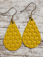 Mustard Basketweave Leather Earring