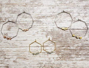 Beaded Hexagon Hoop Earrings