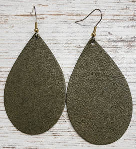 Olive Leather Earring