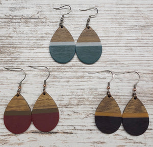 Wood & Resin Teardrop Earring