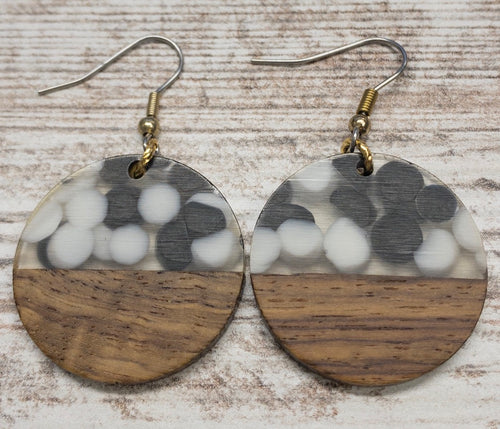 Speckled Wood & Resin Circle Earring