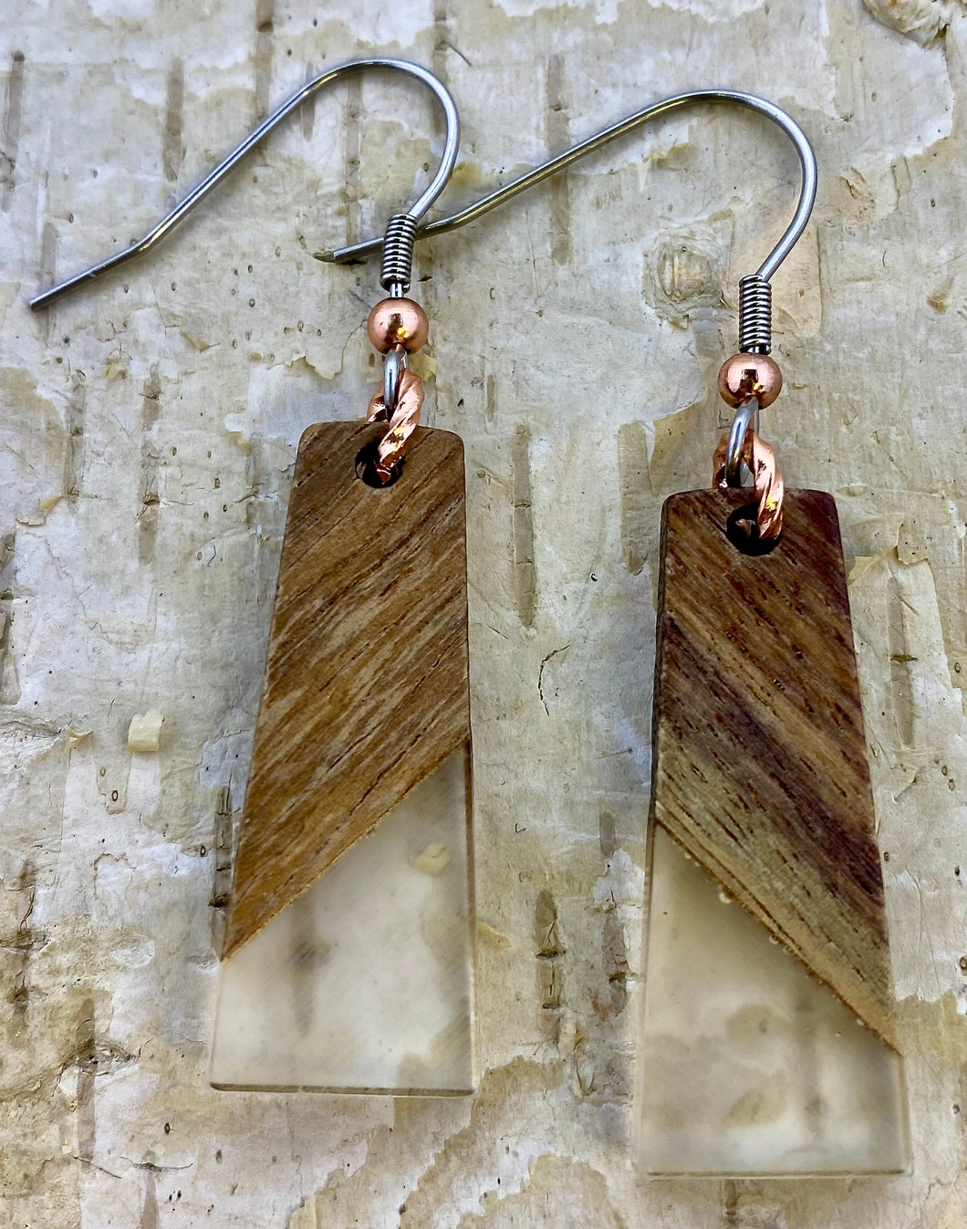 Resin & Wood Drop Earring