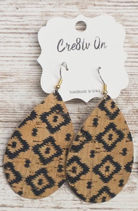 Aztec Cork Leather Earring