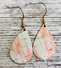 Blush and White Distressed Cork Leather Earring