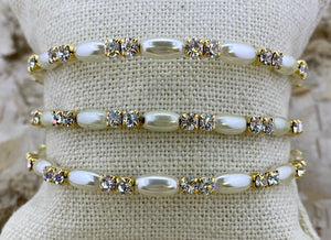 Horizontal Pearl Swarovski Cuff From Paris