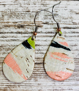 Multi-Colored Striped Leather Earring on Cork
