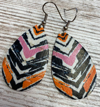 Striped Leather Earring on Cork