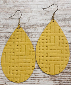 Light Mustard Basketweave Leather Earring