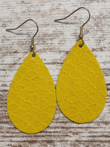 Mustard Scaled Leather Earring