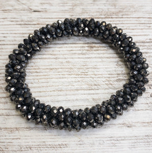 Gray Crystal Cluster Stretch Bracelet